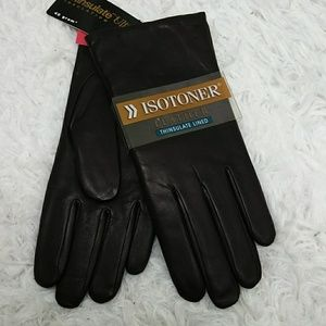 Isotoner Thinsulate Lined Brown Leather Gloves 7